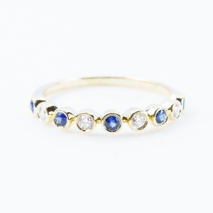14k Yellow Gold Natural Sapphire and Diamond Bezel Set Ring