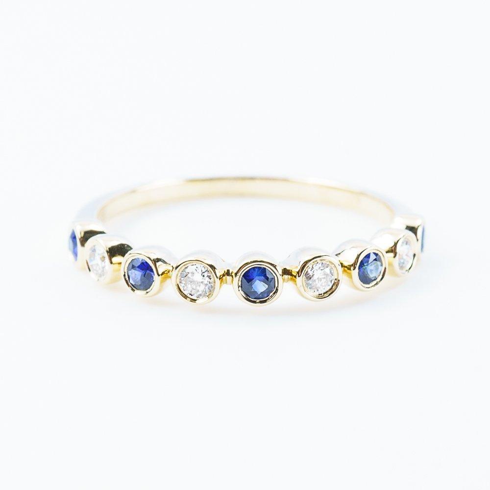 14k Yellow Gold Natural Sapphire and Diamond Bezel Set Ring