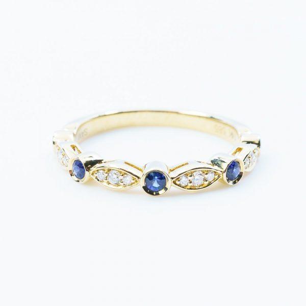 14k Yellow Gold Natural Blue Sapphire and Diamond Bezel Set Ring