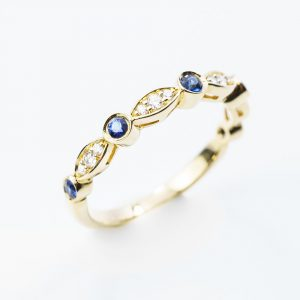 14k Yellow Gold Natural Blue Sapphire and Diamond Bezel Set Ring