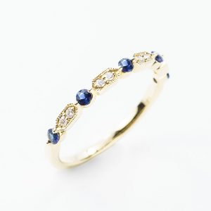 14k Yellow Gold Natural Blue Sapphire and Diamond Ring