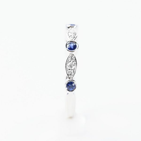 14k White Gold Natural Blue Sapphire and Diamond Bezel Set Ring