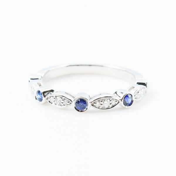 14k White Gold Natural Blue Sapphire and Diamond Bezel Set Ring
