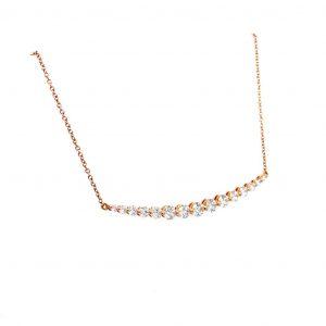 18k Rose Gold Diamond Curved Bar Necklace w/ 15 Round Diamonds