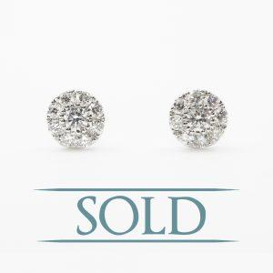 14k White Gold Natural Diamond Cluster Stud Earrings