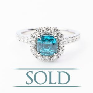 14k White Gold Natural Blue Zircon and Diamond Ring