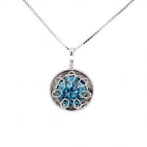 14k White Gold Natural London Blue Topaz and Diamond Pendant
