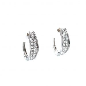 14k White Gold Pave Diamond Oval Huggie Earrings