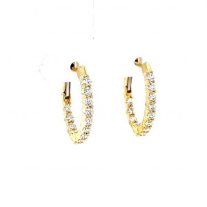 14k Yellow Gold Natural Diamond Inside Out Hoop Earrings