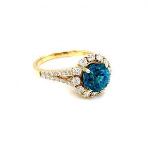 18k Yellow Gold Blue Zircon and Diamond Ring