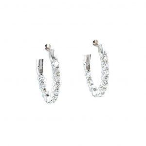 18k White Gold Natural Diamond Inside Out Hoop Earrings