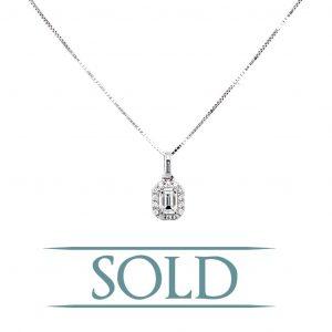 14k White Gold Emerald Cut Diamond Halo Pendant