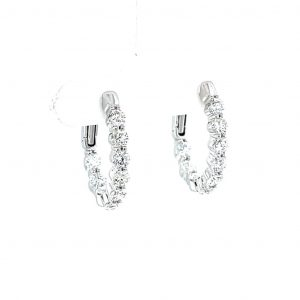 18k White Gold and Natural Diamond Oval Shape Inside Out Hoop Earrings