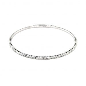 14k White Gold Diamond Flexible Cuff Bracelet