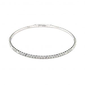 14k White Gold Diamond Flexible Cuff Bracelet