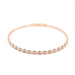 14k Rose Gold Diamond Bezel Flexible Bangle Bracelet