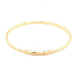 14k Yellow Gold Diamond Bezel Flexible Bangle Bracelet