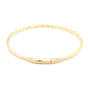 14k Yellow Gold Diamond Bezel Flexible Bangle Bracelet