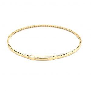 14k Yellow Gold Diamond Flexible Bangle Bracelet