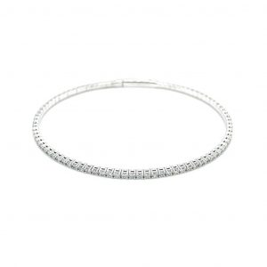 14k White Gold Diamond Flexible Bangle Bracelet