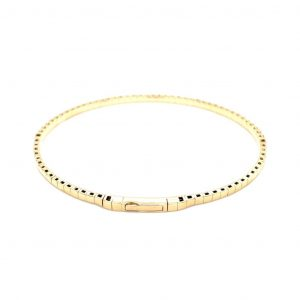 14k Yellow Gold Diamond Flexible Bangle Bracelet