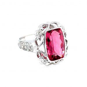 18K White Gold Pink Tourmaline and Diamond Ring