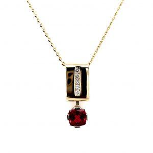 14K Yellow Gold Pink Tourmaline and Diamond Pendant