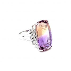 14K White Gold Ametrine and Diamond Ring