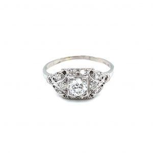 Platinum and Natural Diamond Vintage Estate Ring