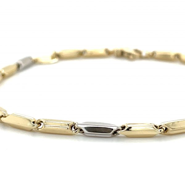 14k White and Yellow Gold High Polish Link Bracelet 8""