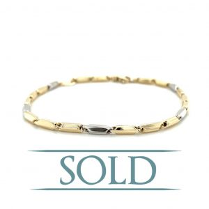 "14k White and Yellow Gold High Polish Link Bracelet 8"""