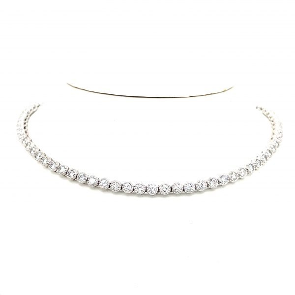 18k White Gold Diamond Hand Crafted Riviera Necklace