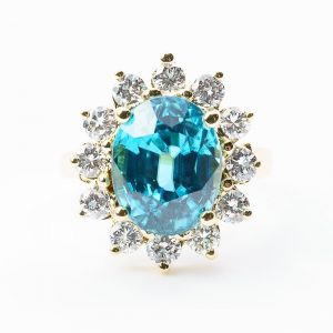 14k Yellow Gold Natural Blue Zircon and Diamond Halo Ring