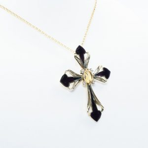 14k Yellow Gold Natural Diamond and Citrine Estate Cross Pendant w/ Enamel Detail