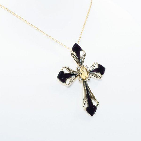 14k Yellow Gold Natural Diamond and Citrine Estate Cross Pendant w/ Enamel Detail