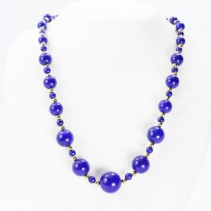 14k Yellow Gold and Natural Lapis Estate Bead Necklace