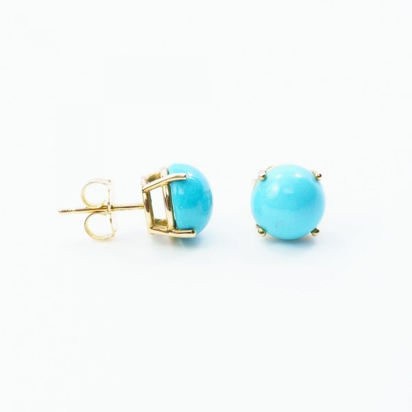 14k Yellow Gold Estate Cabochon Post Earrings