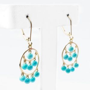 14k Yellow Gold Natural Turquoise Estate Chandelier Earrings