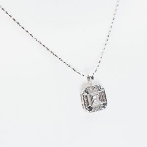14k White Gold Natural Diamond Estate Pendant