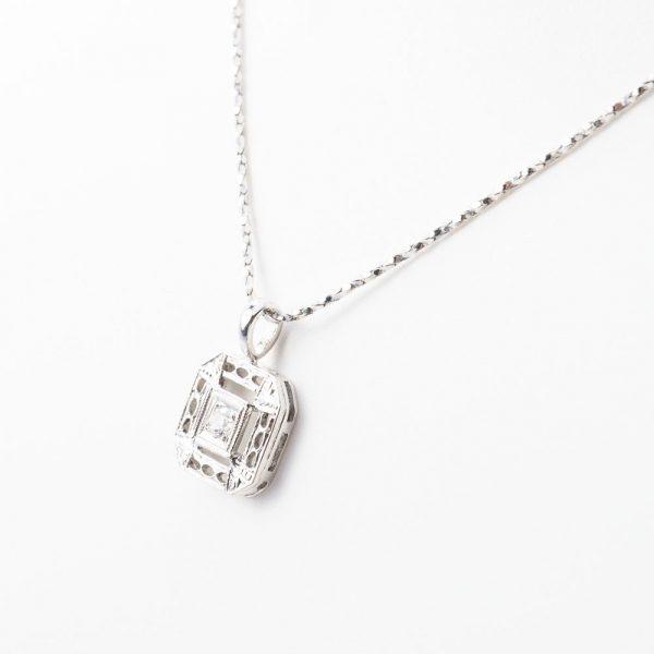 14k White Gold Natural Diamond Estate Pendant