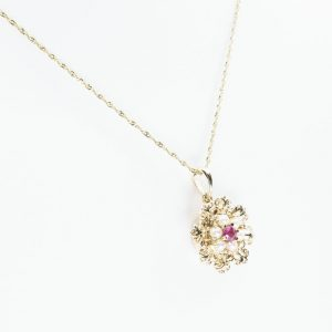 14K Yellow Gold Natural Seed Pearl and Ruby Estate Flower Pendant