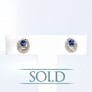 18K White Gold Natural Blue Sapphire and Diamond Stud Earrings