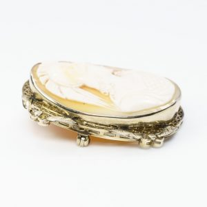 14k White Gold Estate Cameo Estate Pin/Pendant