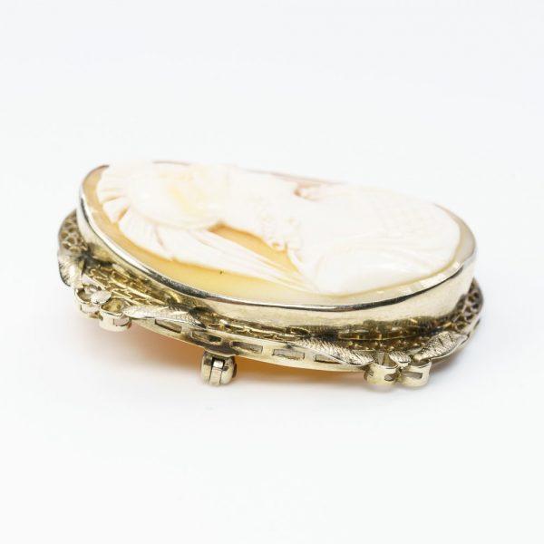 14k White Gold Estate Cameo Estate Pin/Pendant