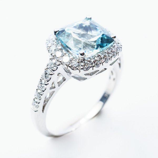 14k White Gold Natural Aquamarine and Diamond Halo Ring