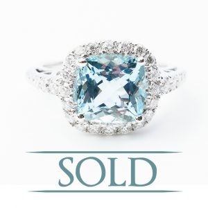 14k White Gold Natural Aquamarine and Diamond Halo Ring