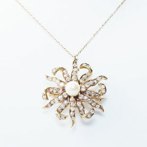 14k Yellow Gold Natural Diamond and Pearl Estate Pendant/Pin