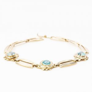 10k Yellow Gold Natural Blue Zircon Estate Bracelet