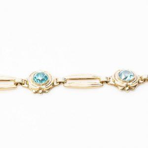 10k Yellow Gold Natural Blue Zircon Estate Bracelet