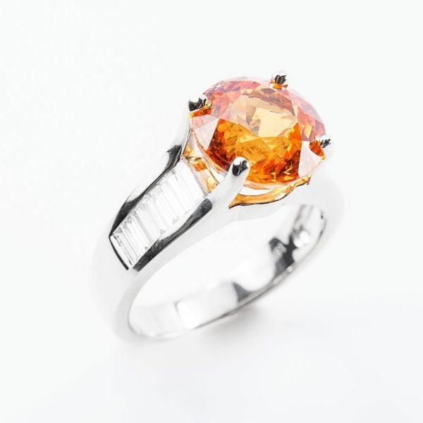 18k White Gold Natural Spessartine Garnet and Baguette Diamond Ring